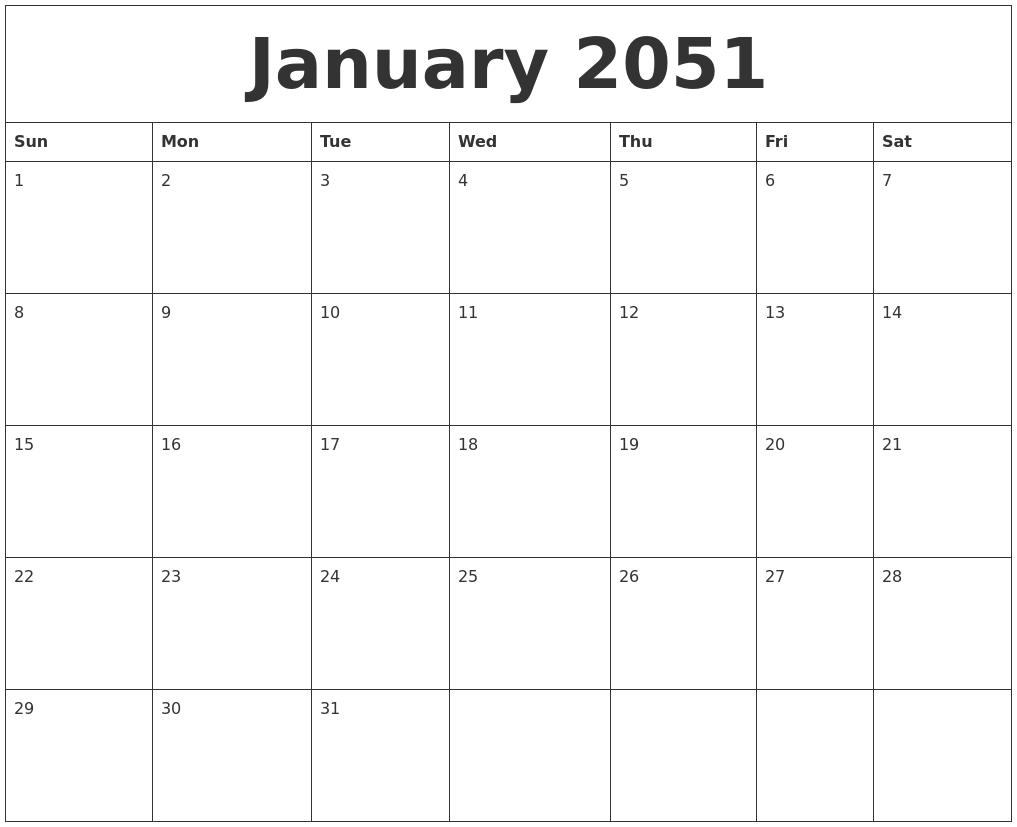 january 2051 online calendar template