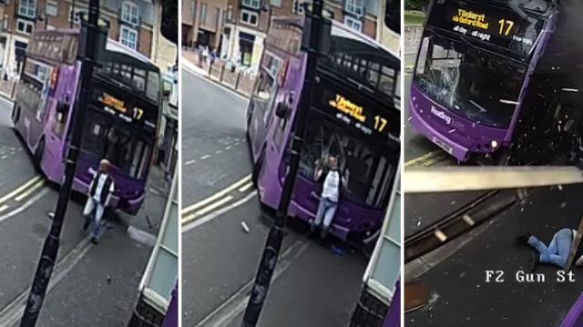 (VIDEO) Seorang Lelaki Selamba Bangun Selepas Dilanggar Bas!