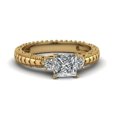 Alluring 14k Yellow Gold Three Stone Engagement Rings