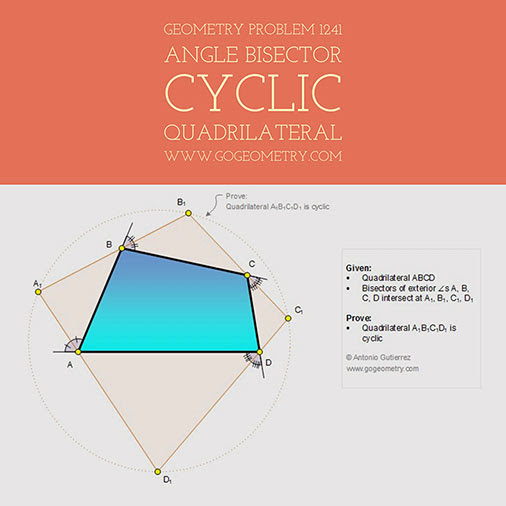 Typography of Geometry Problem 1241, Cyclic Quadrilateral, Angle Bisector, iPad Apps, Mobile, Art, Class, Tablet