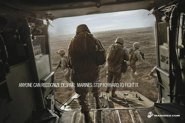 Marines change recruiting pitch to include humanitarian missions