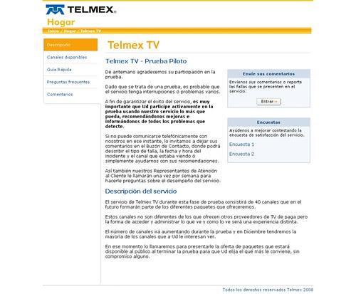 Telmex TV ya está en fase de pruebas