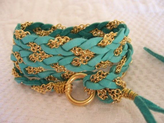 Rich Turquoise Deerskin Leather Wrap Bracelet by sandinthesky, $27.00