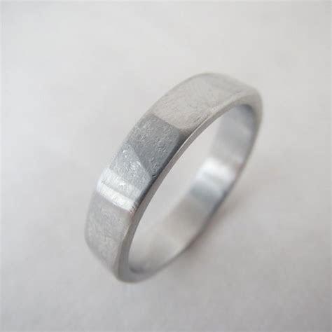 Men's 4mm Narrow Wedding Ring Facet Hammered Textured
