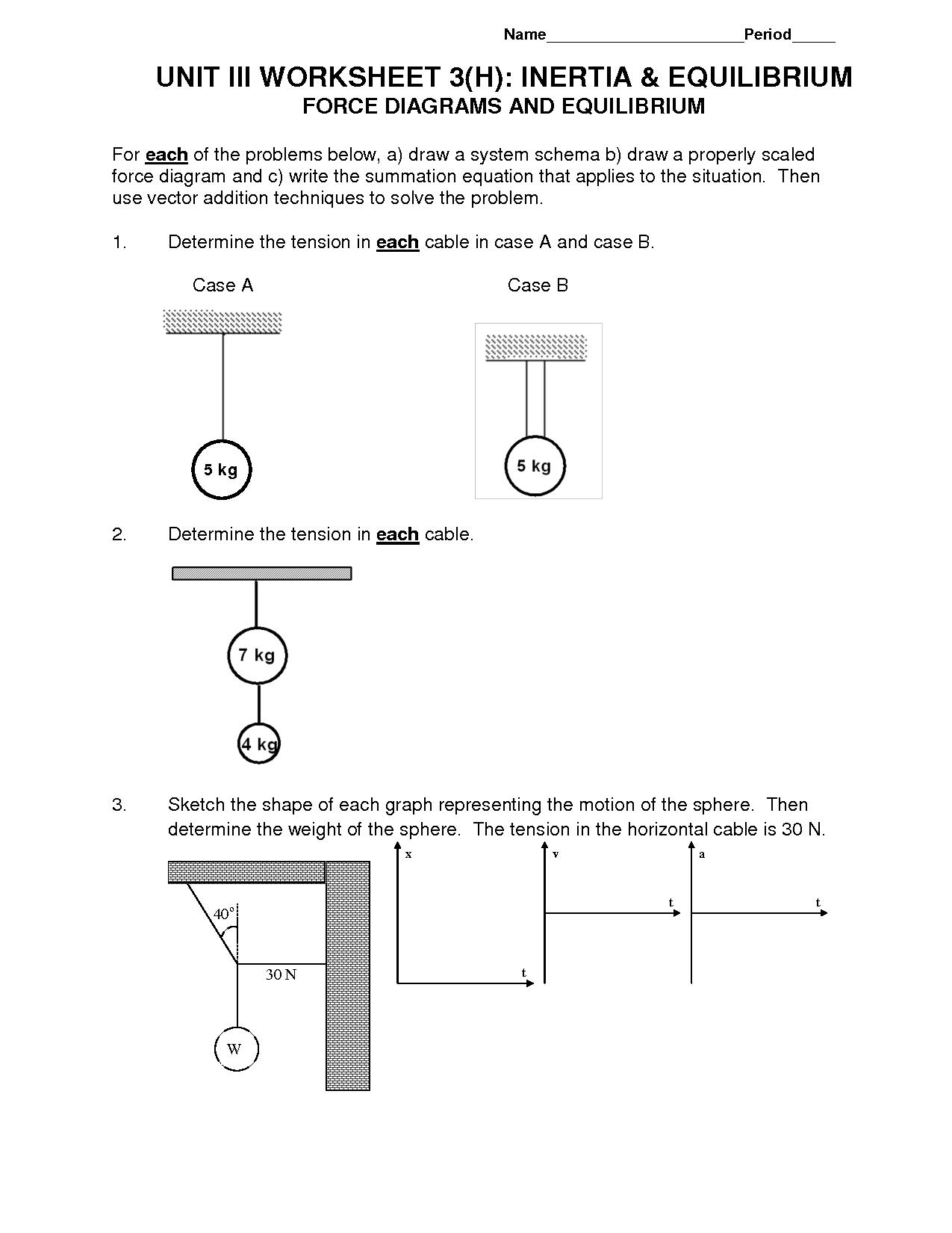 77  Pdf  Worksheet Drawing Force Diagrams Printable