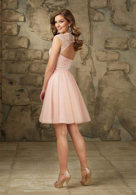 Lace and Tulle Bridesmaid Dress with Keyhole Back   Style