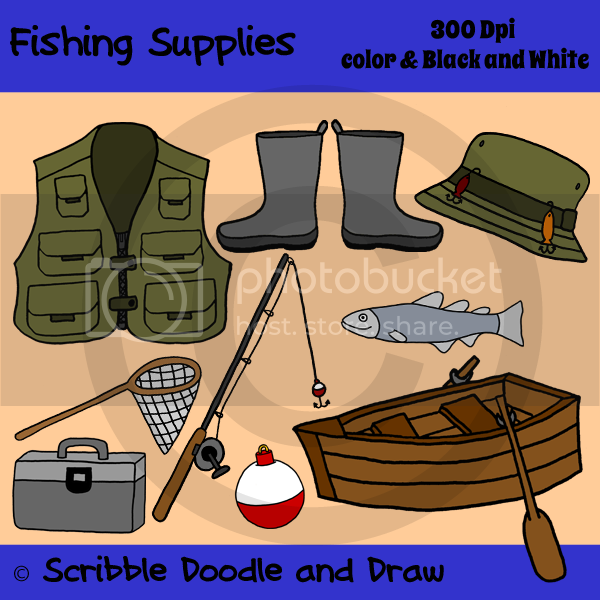 clip art images of fishing supplies including vest boat net tackle box fishing rod hat boots