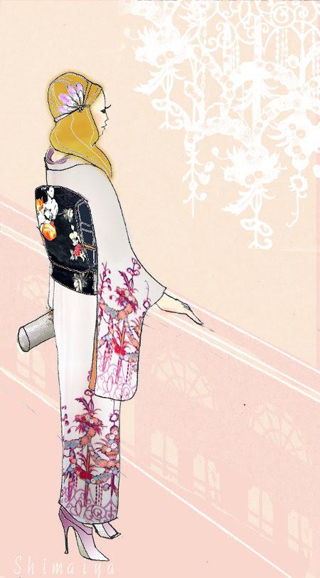 着物イラストのイラストと着物シャンデリアの付け下げとフラワーガール帯