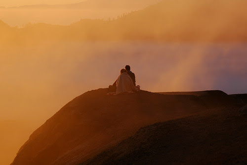 Lovers at Mount Bromo volcano in East Java