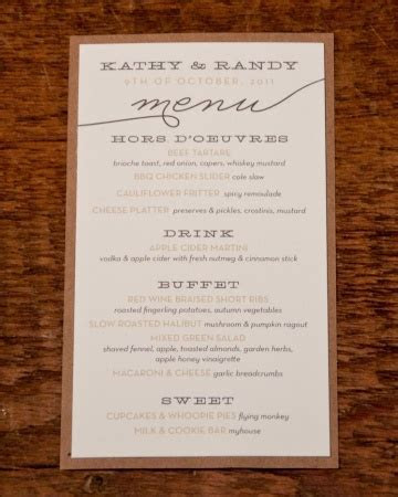 Rustic Menu Card For a down home affair that focuses on