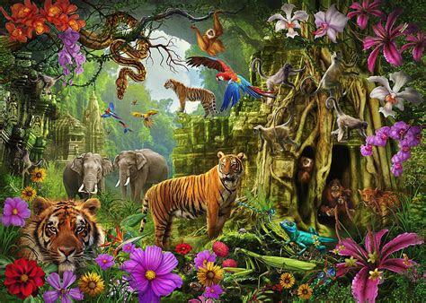 dark jungle temple  tigers drawing  mgl meiklejohn