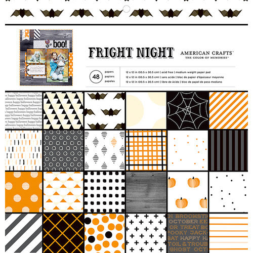 American Crafts - Halloween Collection - 12 x 12 Paper Pad - Fright Night
