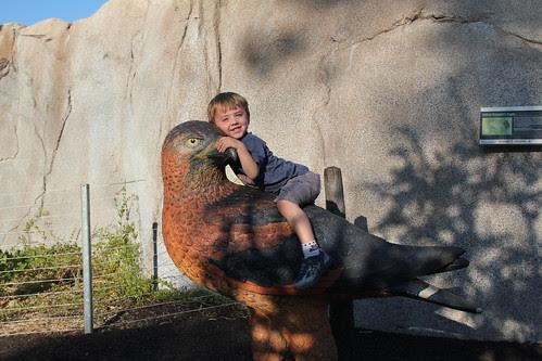 Olsen riding a bird thing
