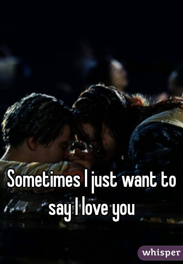 Sometimes I Just Want To Say I Love You