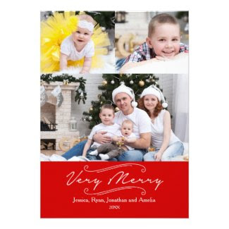 Modern Very Merry Multi Photo Holiday Card