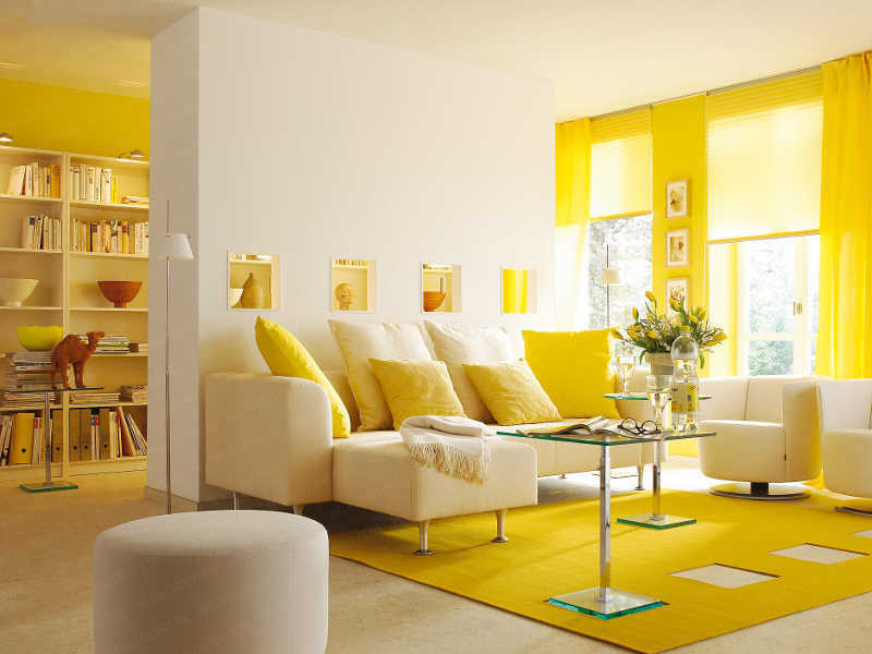 Yellow Colour Wall Design