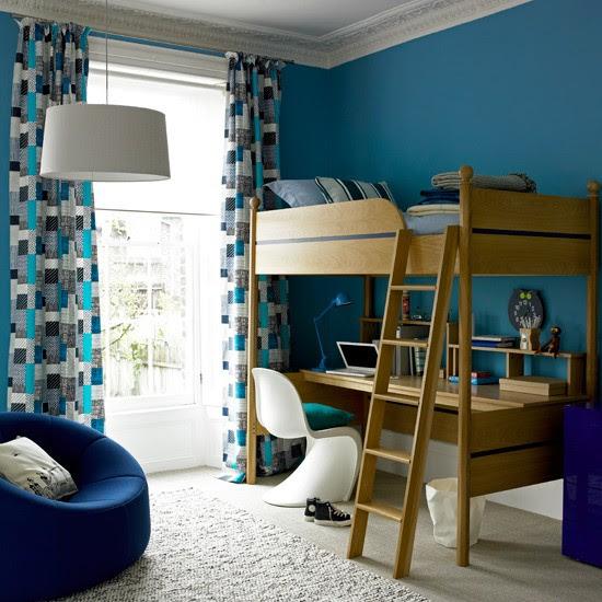 Bold blue boy's room   kids room girls bed