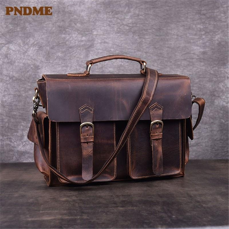 Cheap PNDME retro genuine leather men's briefcase high quality crazy horse cowhide business work laptop bag shoulder messenger bags