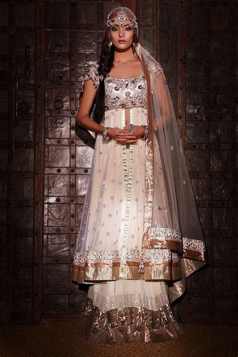 Georgette lengha with tissue frills and long jacket, lace