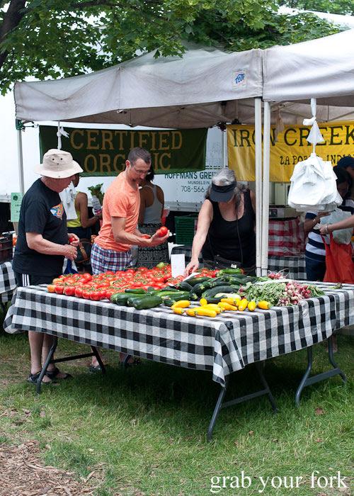 organic vegetables Iron Creek Farm Logan Square Farmers Market greenmarket producers vegetables Chicago Illinois