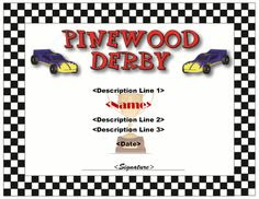 Pinewood Derby Certificates - free printable   Cub Scouts ...
