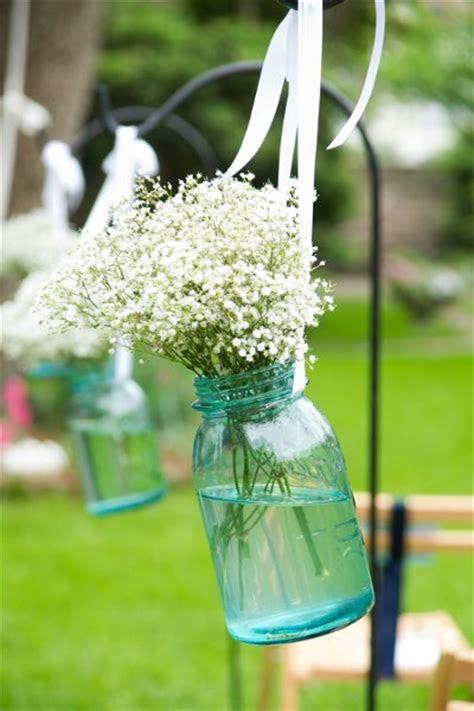 Mason Jar Aisle Markers, Wedding Ceremony Photos by Amy