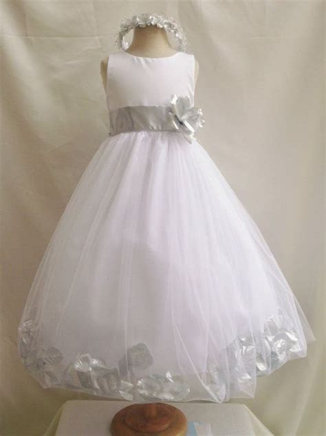 Flower Girl Dress WHITE/Silver PETAL Wedding Children
