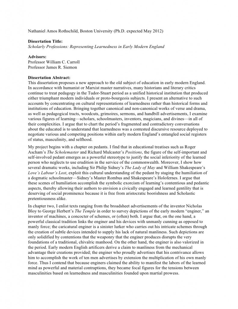 Dissertation Abstract Purpose