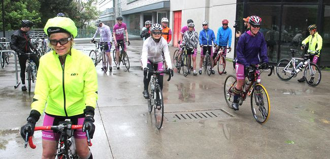 Riders taking part in the annual Seven Days in May cycle ride around Lake Ontario to raise money for pancreatic cancer research leave the Cancer Research Institute in Kingston for the next leg of their 1,100 kilometre journey. (Michael Lea/The Whig-Standard)
