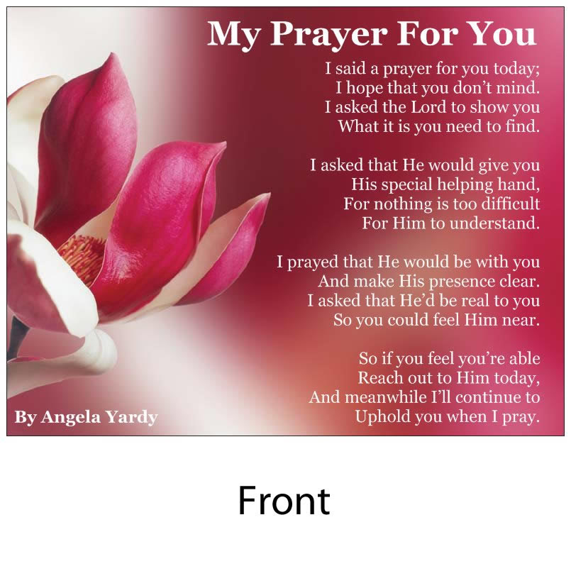 Angelas Poems Shop My Prayer For You Without Envelope