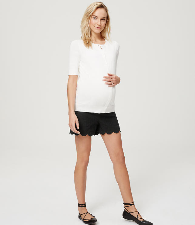 "Primary Image of Petite Maternity Scallop Jacquard Riviera Shorts with 3 1/2"" Inseam"