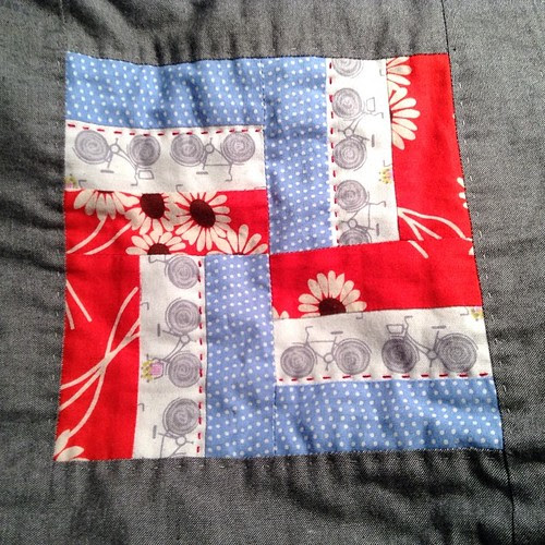 I'm adding some colored quilting to my #farmerswifequilt