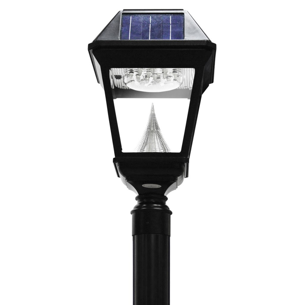 6 7 Ft 80 In Tall Solar Lamp Post And Planter 3 Heads Black