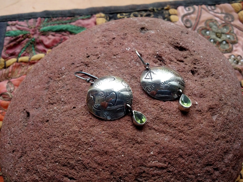 Peridot  Sterling Silver  Disk Earrings