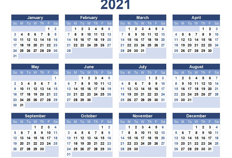 2021 Calendar Large Print | Calendar Page