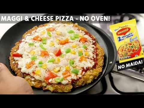 Maggi Pizza Recipe - No Egg Without Oven Cheesy Noodles