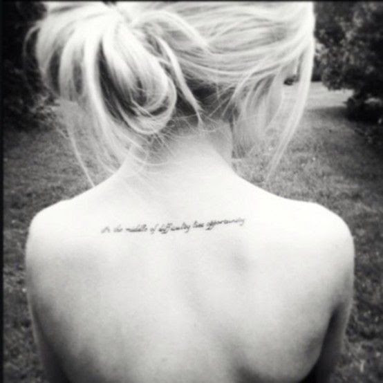 Blonde Girl Back Quote Tattoo Tattoomagz