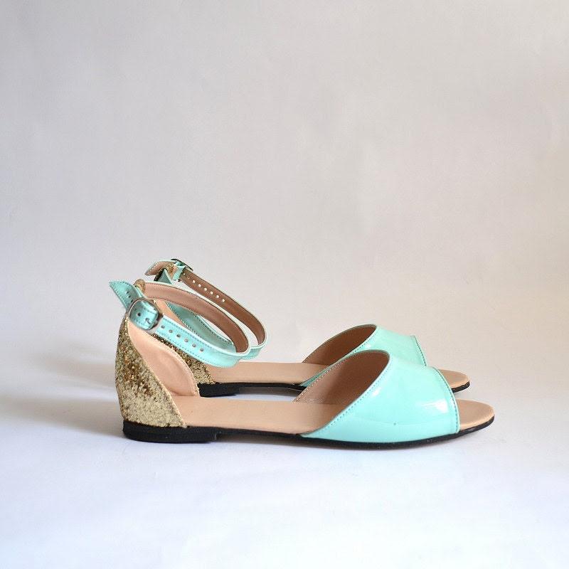 Beka vegan sandals flats (Handmade to order) - goldenponies