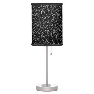 White Scrolling Curves on Black Table Lamp