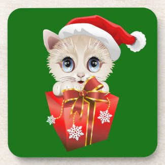 Kitten Christmas Santa with Gift Beverage Coasters