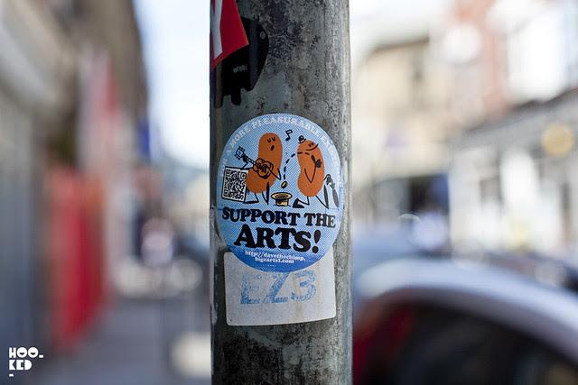 London street art stickers featuring street artist Dave The Chimp
