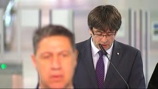 El momemt en què Xavier Garcia Albiol marxa de l'acte inaugural de l'L9