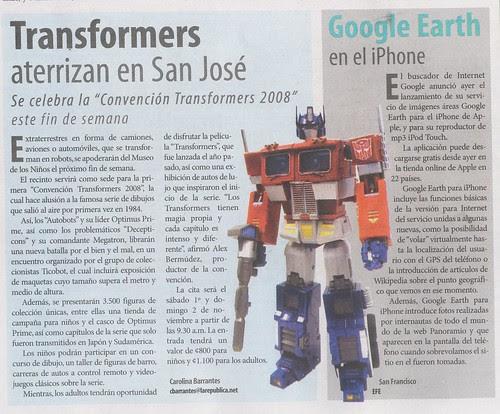 Ticobot anunciado en La República del 28-Oct-2008