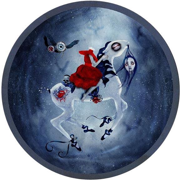 Natalie Shau, painting, dream, Ominous Ride, horse, pony, night