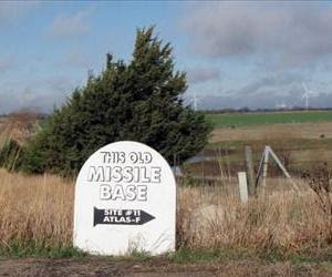 A sign is viewed on March 22, 2012 on a rural road which points the way to a site where survival condos are being built in a former nuclear missile silo north of Salina, Kansas.