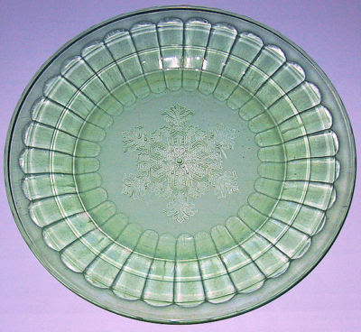 Vintage Green Depression Glass Plate Snowflake pattern ...