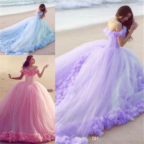 Colorful Ball Gown Style Beach Wedding Dresses Off The