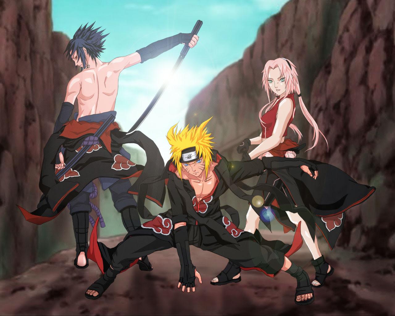 Sasuke Naruto And Sakura In Akatsuki Zekrom676 Wallpaper