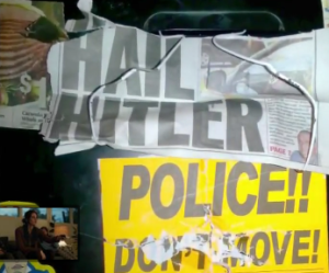 Former NYPD officer David Attali's vandalized locker. Photo: ABC/Screenshot.
