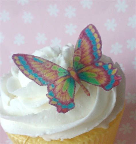 36x edible rainbow wafer butterfly cupcake cake toppers